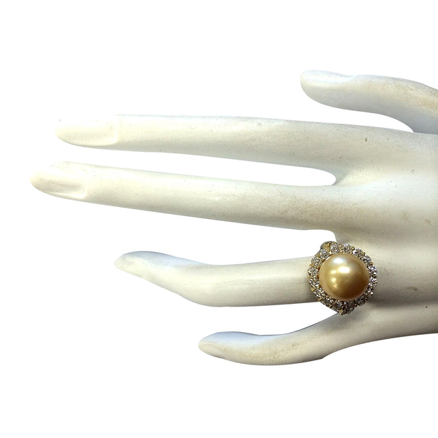 1.20 Carat Natural 10.70 mm South Sea Pearl 14K Yellow Gold Diamond Ring
