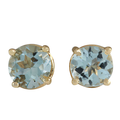 1.06 Carat Natural Aquamarine 14K Yellow Gold Earrings - Fashion Strada
