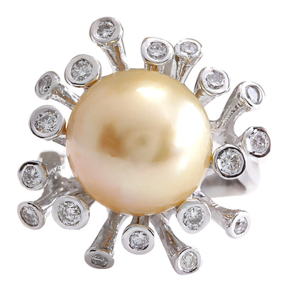 0.80 Carat Natural 13.17 mm South Sea Pearl 14K White Gold Diamond Ring