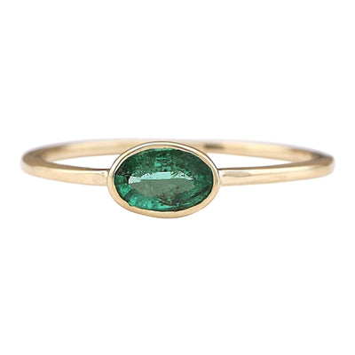 0.50 Carat Natural Emerald 14K Yellow Gold Ring - Fashion Strada