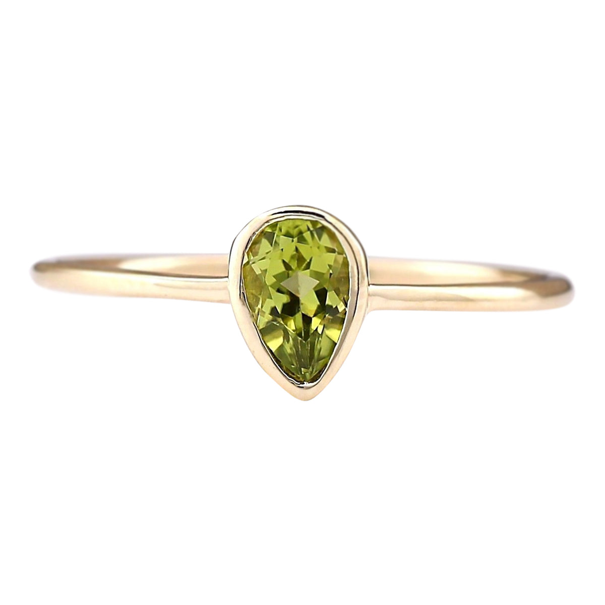 0.50 Carat Natural Peridot 14K Yellow Gold Ring