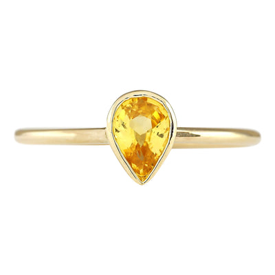 0.52 Carat Natural Sapphire 14K Yellow Gold Ring - Fashion Strada