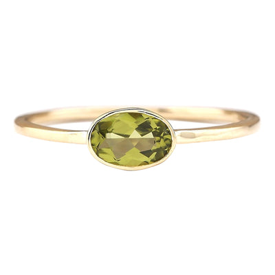 0.60 Carat Natural Peridot 14K Yellow Gold Ring - Fashion Strada