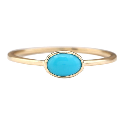 1.00 Carat Natural Turquoise 14K Yellow Gold Ring - Fashion Strada