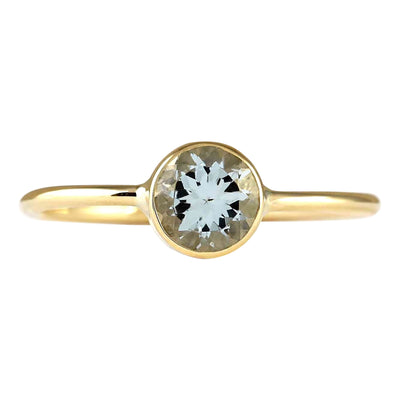 1.00 Carat Natural Aquamarine 14K Yellow Gold Ring - Fashion Strada