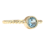 1.00 Carat Natural Aquamarine 14K Yellow Gold Ring