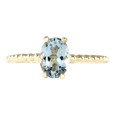 1.07 Carat Natural Aquamarine 14K Yellow Gold Ring - Fashion Strada