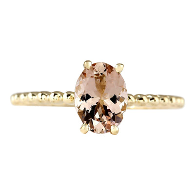 1.10 Carat Natural Morganite 14K Yellow Gold Ring - Fashion Strada