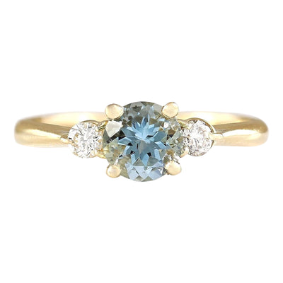1.20 Carat Natural Aquamarine 14K Yellow Gold Diamond Ring - Fashion Strada