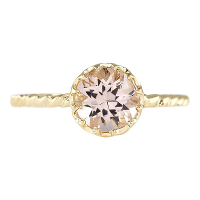 1.20 Carat Natural Morganite 14K Yellow Gold Ring - Fashion Strada