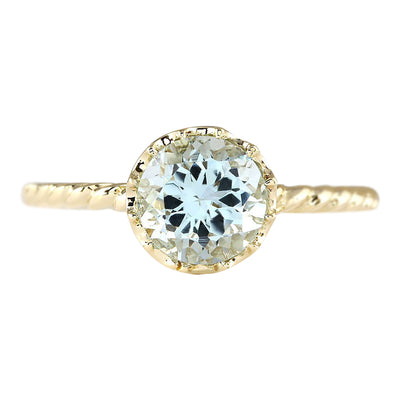 1.50 Carat Natural Aquamarine 14K Yellow Gold Ring - Fashion Strada