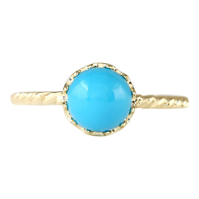1.50 Carat Natural Turquoise 14K Yellow Gold Ring - Fashion Strada