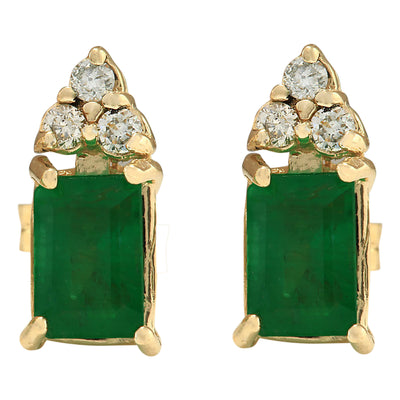 1.60 Carat Natural Emerald 14K Yellow Gold Diamond Earrings - Fashion Strada