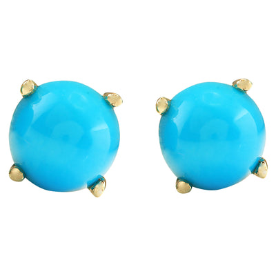 2.00 Carat Natural Turquoise 14K Yellow Gold Earrings - Fashion Strada