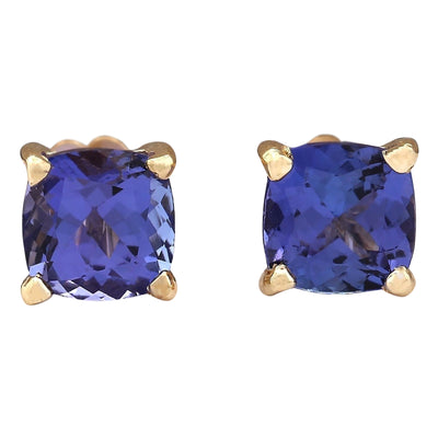 2.90 Carat Natural Tanzanite 14K Yellow Gold Earrings - Fashion Strada