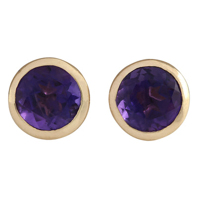 3.00 Carat Natural Amethyst 14K Yellow Gold Earrings - Fashion Strada