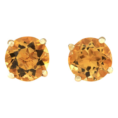 3.00 Carat Natural Citrine 14K Yellow Gold Earrings - Fashion Strada