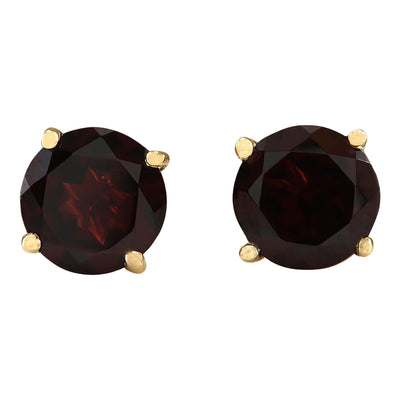 3.00 Carat Natural Garnet 14K Yellow Gold Earrings - Fashion Strada