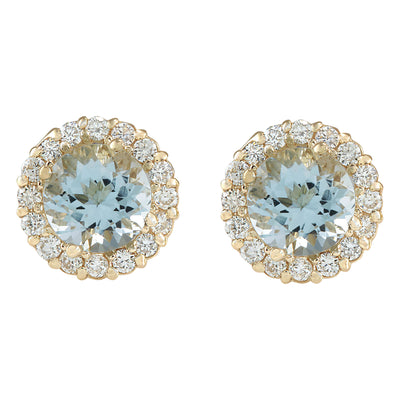 3.65 Carat Natural Aquamarine 14K Yellow Gold Diamond Earrings - Fashion Strada