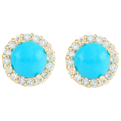 3.65 Carat Natural Turquoise 14K Yellow Gold Diamond Earrings - Fashion Strada