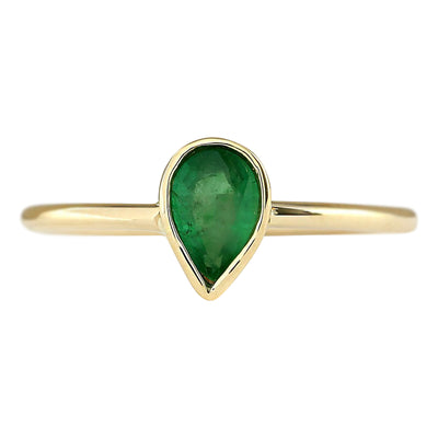 0.40 Carat Natural Emerald 14K Yellow Gold Ring - Fashion Strada