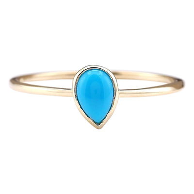 0.40 Carat Natural Turquoise 14K Yellow Gold Ring - Fashion Strada