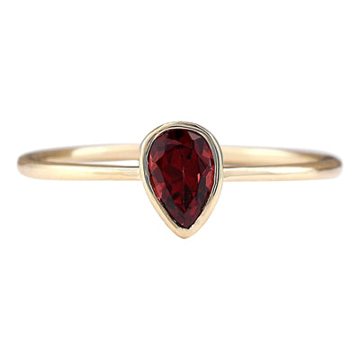 0.50 Carat Natural Garnet 14K Yellow Gold Ring