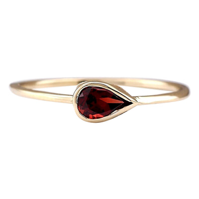 0.50 Carat Natural Rhodolite Garnet 14K Yellow Gold Ring
