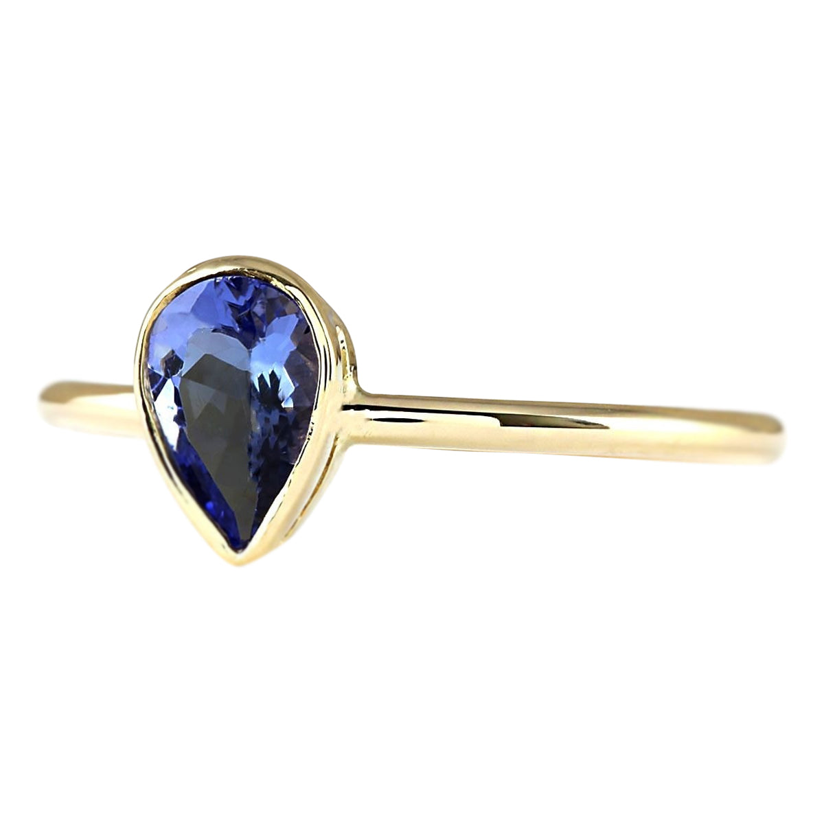 0.50 Carat Natural Tanzanite 14K Yellow Gold Ring