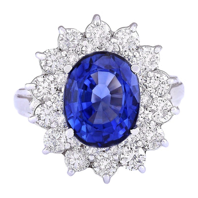 5.55 Carat Natural Sapphire 14K White Gold Diamond Ring