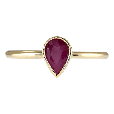0.60 Carat Natural Ruby 14K Yellow Gold Ring - Fashion Strada