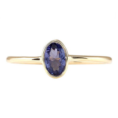 0.60 Carat Natural Tanzanite 14K Yellow Gold Ring - Fashion Strada