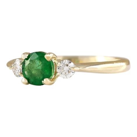 0.70 Carat Natural Emerald 14K Yellow Gold Diamond Ring