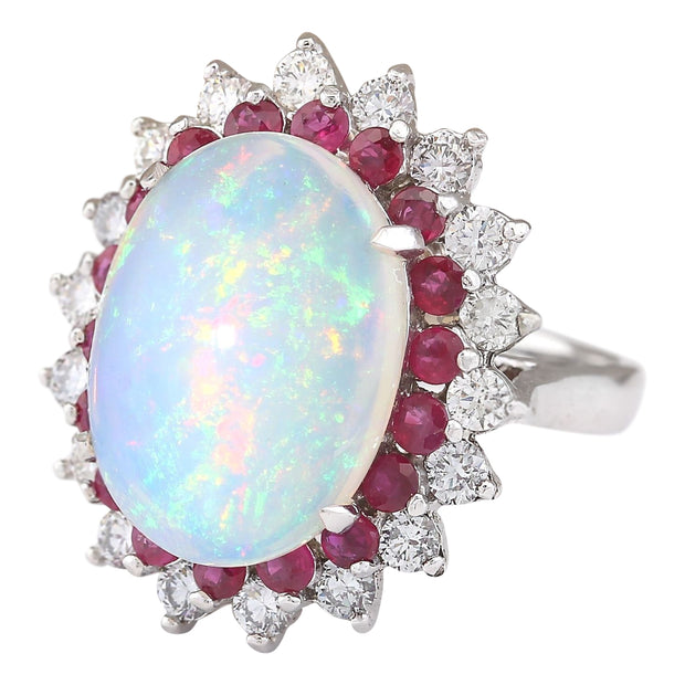 Details about  /Brand New 0.11 CTW 14K White Gold Ruby Natural Diamond Ring