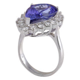 10.06 Carat Natural Tanzanite 14K White Gold Diamond Ring