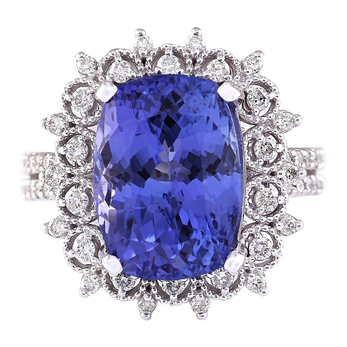 10.30 Carat Natural Tanzanite 14K White Gold Diamond Ring