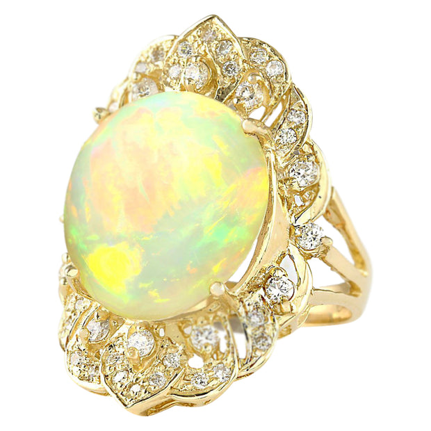 10.65 Carat Natural Opal 14K Yellow Gold Diamond Ring