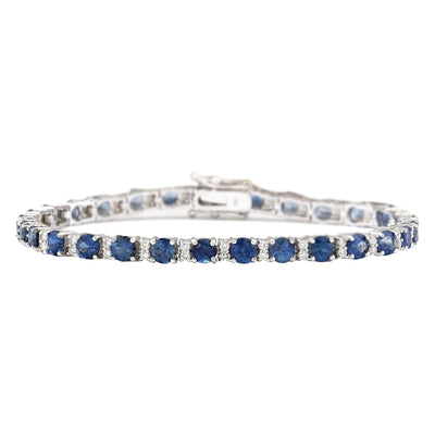 11.10 Carat Natural Sapphire 14K White Gold Diamond Bracelet - Fashion Strada