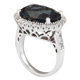 12.08 Carat Natural Topaz 14K White Gold Diamond Ring