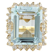 12.30 Carat Natural Aquamarine 14K Yellow Gold Diamond Ring