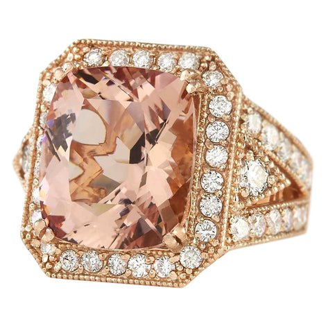 12.34 Carat Natural Morganite 14K Rose Gold Diamond Ring