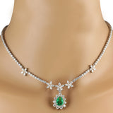 12.43 Carat Natural Emerald 14K White Gold Diamond Necklace