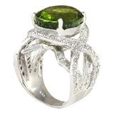 12.80 Carat Natural Tourmaline 14K White Gold Diamond Ring