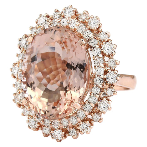 12.85 Carat Natural Morganite 14K Rose Gold Diamond Ring