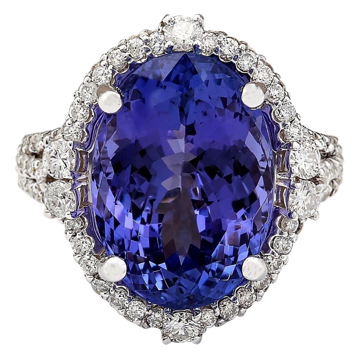 12.87 Carat Natural Tanzanite 14K White Gold Diamond Ring