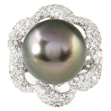 1.30 Carat Natural 14.22 mm South Sea Pearl 14K White Gold Diamond Ring