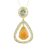 13.14 Carat Natural Opal Aquamarine 14K Yellow Gold Diamond Necklace