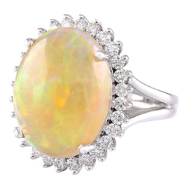 13.48 Carat Natural Opal 14K White Gold Diamond Ring
