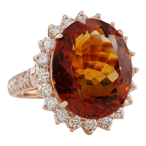 13.79 Carat Natural Citrine 14K Rose Gold Diamond Ring