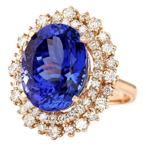 13.49 Carat Natural Tanzanite 14K Rose Gold Diamond Ring